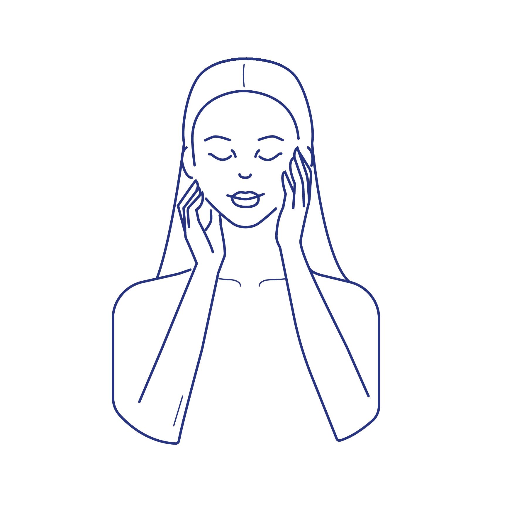 Pictogramme femme qui se touche le visage