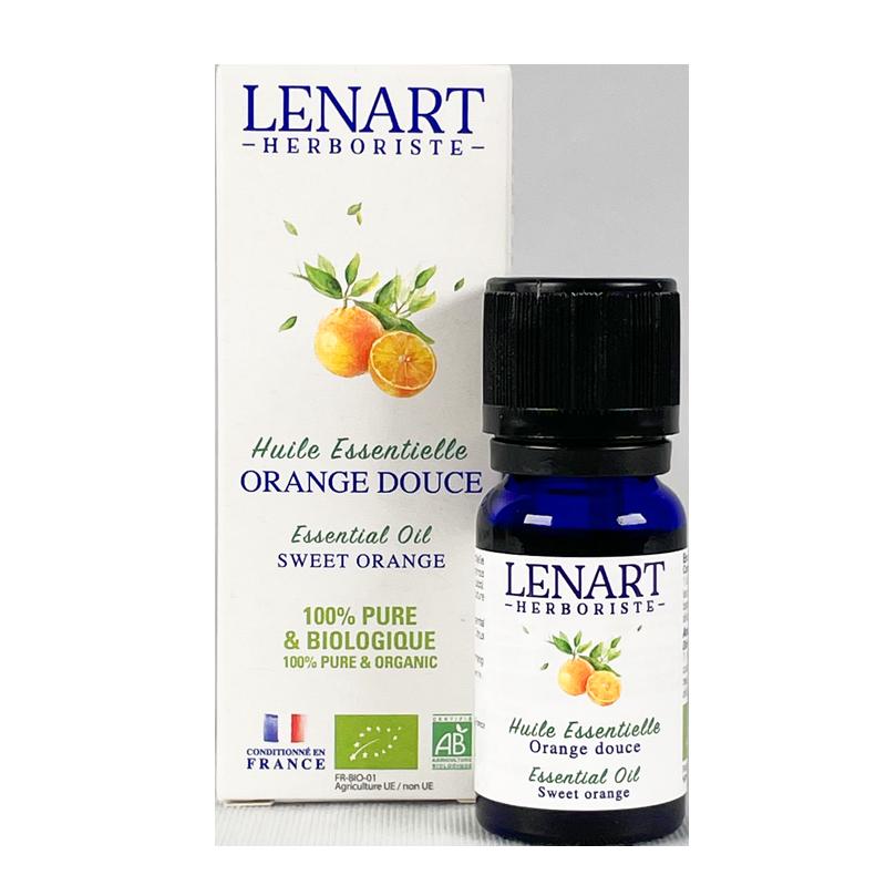 Flacon et étuis Huile essentielle d'Orange douce 10ml Lénart Herboriste
